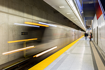 Photo of a subway train leaving the station
